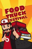 image of food truck  - A vector illustration of Food truck festival poster with copyspace - JPG