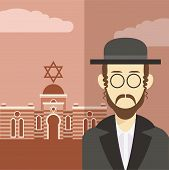 stock photo of rabbi  - Vector cartoon of a icon with an jew - JPG