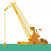 stock photo of barge  - Huge crane barge Industrial ship that digs sand marine dredging digging sea bottom - JPG