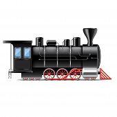 foto of locomotive  - Locomotive isolated on white photo - JPG