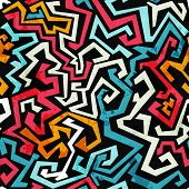 pic of graffiti  - graffiti curves seamless pattern with grunge effect - JPG