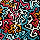 picture of graffiti  - graffiti curves seamless pattern with grunge effect - JPG