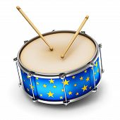 pic of drums  - Blue drum with pair of drumsticks isolated on white background - JPG