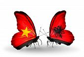 picture of albania  - Two butterflies with flags on wings as symbol of relations Vietnam and Albania - JPG