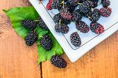 image of mulberry  - Group of mulberries isolated on wood background - JPG