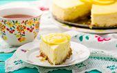 stock photo of cheesecake  - Slice of lemon cheesecake  - JPG