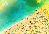 picture of leak  - Beach with tourists sunbeds and umbrellas - JPG