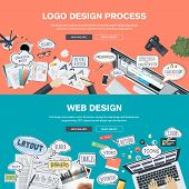 Set of flat design banners for logo and web design development poster