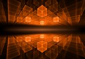 stock photo of infinity  - orange cubic geometrical perspective stretching off to infinity with rays of light on black background abstract illustration - JPG