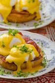 picture of benediction  - Eggs benedict prosciutto topped with Hollandaise sauce - JPG