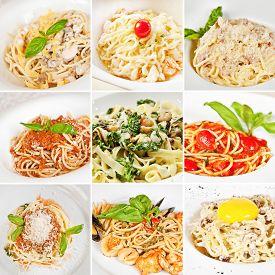 picture of carbonara  - Various pasta collage including spaghetti Carbonara spaghetti Bolognese and linguine pasta - JPG
