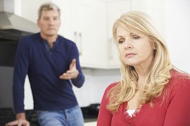 picture of conflict couple  - Mature Couple Having An Arguement At Home - JPG
