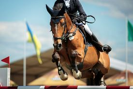 pic of horse-riders  - rider on a sports horse jumping over an obstacle during the horsejumping event - JPG