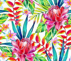 picture of heliconia  - a large and vibrant pattern with detailed watercolor illustration of hawaiian and exotic flowers - JPG