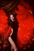 picture of cabaret  - Beautiful dancer on the stage of cabaret - JPG