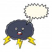 foto of lightning bolt  - cartoon cloud and lightning bolt symbol with speech bubble - JPG