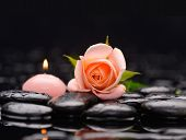 picture of stone-therapy  - Beautiful orange rose with candle and therapy stones  - JPG