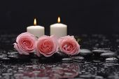 stock photo of stone-therapy  - Three rose and therapy stones  - JPG