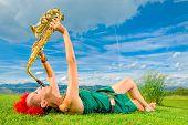 stock photo of saxophones  - Young saxophonist  - JPG