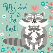 stock photo of raccoon  - Card with cute raccoons to Fathers Day - JPG