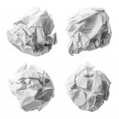 foto of stress-ball  - Collection of various paper ball on white background with clipping path - JPG