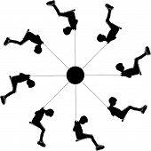 stock photo of swing  - Boys swinging on a carousel swing in the park silhouette vector illustration - JPG