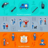 picture of safeguard  - Security armed safeguard operative service duties and equipment flat horizontal banners set abstract isolated vector illustration - JPG
