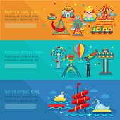 image of amusement  - Amusement park horizontal banner set with water family extreme attractions flat elements isolated vector illustration - JPG