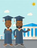 picture of toga  - Happy two black young men wearing a toga and graduation cap standing under the sun - JPG