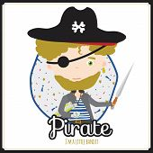 picture of pirate girl  - Cute vector alphabet Profession - JPG