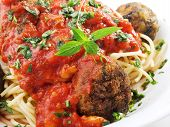 picture of meatball  - Italian spaghetti with meatballs and basil - JPG