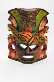 foto of anaconda  - Indian Mayan Aztec wooden mask with anaconda and jaguar isolated on white background - JPG