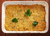 foto of baked potato  - Potato casserole in a baking dish shot from above - JPG
