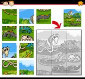 stock photo of brain-teaser  - Cartoon Illustration of Education Jigsaw Puzzle Game for Preschool Children with Reptiles and Amphibians Animals Characters Group - JPG