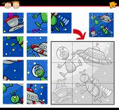 foto of brain-teaser  - Cartoon Illustration of Education Jigsaw Puzzle Game for Preschool Children with Aliens Characters in Space - JPG