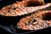 foto of grill  - Grilled red fish steak salmon on the grill pan - JPG