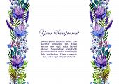 stock photo of wildflower  - Floral seamless border with wildflowers - JPG