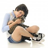 pic of snuggle  - An attractive young teen snuggling with her pet kitty - JPG