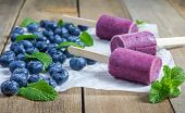 image of popsicle  - Homemade popsicles with blueberry yogurt and honey - JPG