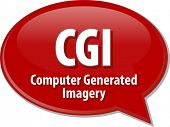 picture of computer-generated  - Speech bubble illustration of information technology acronym abbreviation term definition CGI Computer Generated Imagery - JPG