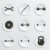 foto of weight lifter  - Set of sign weights for fitness or gym paper icons - JPG