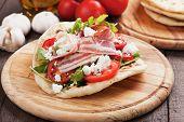stock photo of rocket salad  - Piadina romagnola - JPG