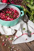 foto of chives  - Beetroot soup with chives and radishes on the boards - JPG