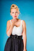 stock photo of hand kiss  - Retro pin up girl style - JPG