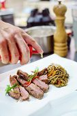 picture of flank steak  - steak with noodles - JPG
