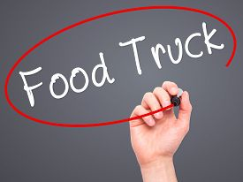 foto of food truck  - Man Hand writing Food Truck with black marker on visual screen - JPG