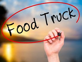 picture of food truck  - Man Hand writing Food Truck with black marker on visual screen - JPG