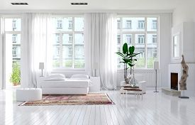 pic of monochromatic  - Large spacious monochromatic white bedroom with fireplace - JPG