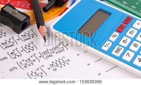 Постер, плакат: Mathematics Math Equations Close up Math Homework Or Math Exams Solving Mathematical Problem Mat, холст на подрамнике