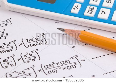 Постер, плакат: Mathematics Math Equations Close up Math Homework Or Math Exams Solving Mathematical Problem Mat, холст на подрамнике